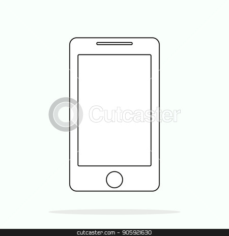 Smartphone line outline style vector illustration, simple mobile phone sketch line art icon isolated on white background stock vector clipart, Smartphone line outline style vector illustration, simple mobile phone sketch line art icon isolated on white background eps10 by elnurbabayev