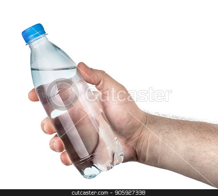 Closed plastic water bottle in hand stock photo, Closed plastic water bottle in hand isolated on white background by Vitalii Borovyk