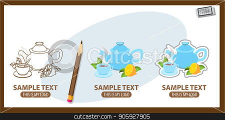 Teapot and cup stock vector clipart, Teapot and cup, logo. Set of vector illustrations by Filipp Efanov