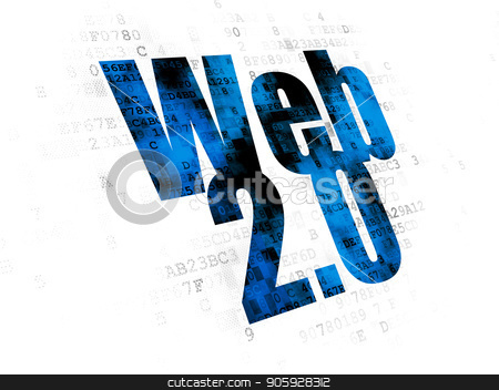Web design concept: Web 2.0 on Digital background stock photo, Web design concept: Pixelated blue text Web 2.0 on Digital background by mkabakov