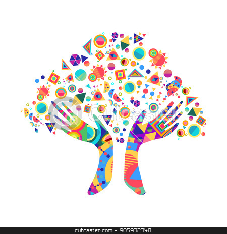 Human Hand Tree For Culture Diversity Concept Stock Vector
