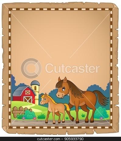 Horse with foal theme parchment 1 stock vector clipart, Horse with foal theme parchment 1 - eps10 vector illustration. by Klara Viskova