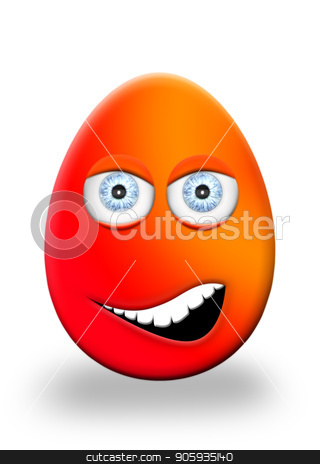 Easter Egg With Eyes and Mouth Face Expression 3D Illustration stock photo, Easter Egg With Eyes and Mouth Face Expression 3D Illustration by Aleksandar Ilic