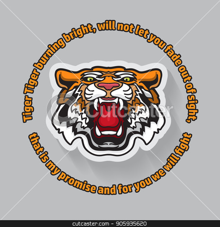 Tiger poster template with angry tiger head. Vector. stock vector clipart, Tiger poster template with angry tiger. Vector illustration. Save the tigers card in cartoon style. Modern abstract banner with tiger head. by VeYe