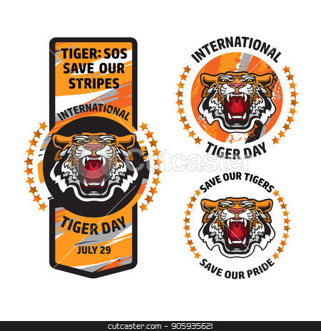 International Tiger Day badge template set. Vectror. stock vector clipart, International Tiger Day badge template set with angry tiger head. Vector illustration. Card in cartoon style. by VeYe
