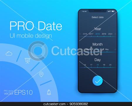 Date application UI design concept stock vector clipart, Date application UI design concept. Stock vector by Amelisk
