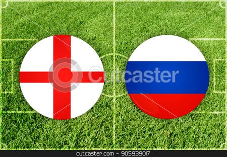 England vs Russia football match stock photo, Illustration for Football match England vs Russia by olinchuk