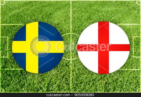 Sweden vs England football match stock photo, Illustration for Football match Sweden vs England by olinchuk