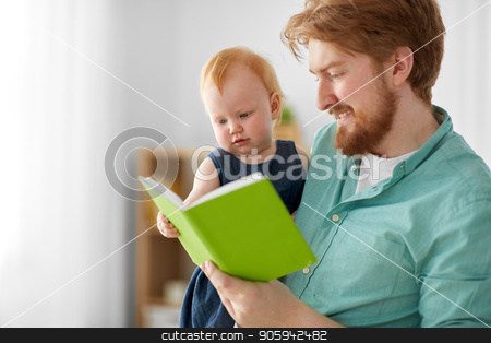 father and baby daughter with book at home stock photo, family, fatherhood and people concept - happy red haired father and little baby daughter with book at home by Syda Productions
