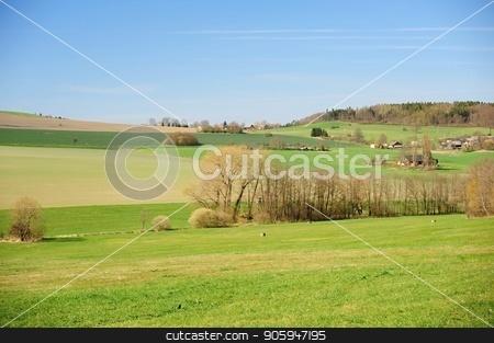 Beautiful spring landscape stock photo, Beautiful spring landscape with forest, meadow and village by Ondrej Vladyka