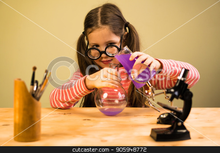 Little Girl Processing Chemical Homework Experiment with Chemical Flasks. Child Education stock photo, Little Girl is Providing Chemical Homework Experiment with Chemical Vessels. Child Education Process by Gideon Ikigai