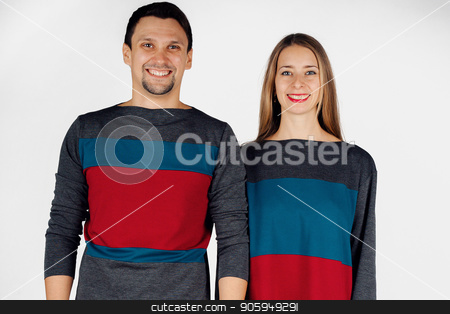 portrait of a man and a woman. Pair in red, grey and blue stock photo, portrait of a man and a woman. Pair in red, grey and blue by aaalll3110