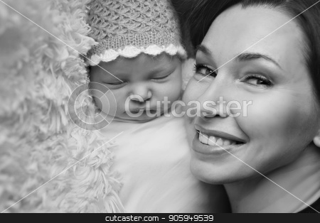 baby on the hands of mother. woman and child