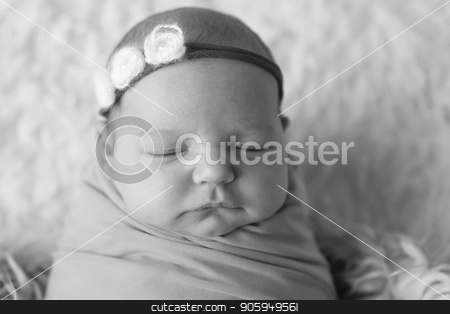 A little child in a diaper lies. Portrait of newborn stock photo, A little child in a diaper lies. Portrait of newborn by aaalll3110