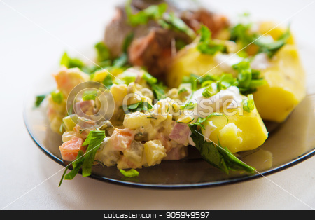 Fried meat with potato salad, greens seasoning white sauce, on a white plate. Clipping path. stock photo, Fried meat with potato salad, greens seasoning white sauce, on a white plate. Clipping path. by aaalll3110