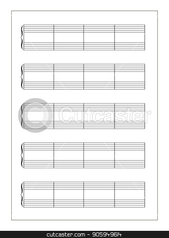 A4 music sheet with note stave on white stock vector clipart, A4 music sheet with note stave isolated on white by Evgeny