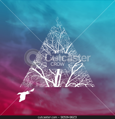 with crow banner stock vector clipart, Square template with a white crow and a tree. Banner template. by D0r0thy