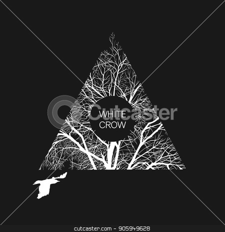 with crow banner stock vector clipart, Square template with a white crow and a tree on a black background. Banner template. by D0r0thy