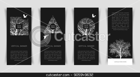 with crow banner stock vector clipart, Narrow vertical templates with a white crow and a tree on a black background. Banner templates. by D0r0thy
