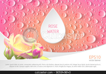 Banner for rose watter stock vector clipart, Rectangular pink banner with roses and drops. Template for advertising rose water. by D0r0thy