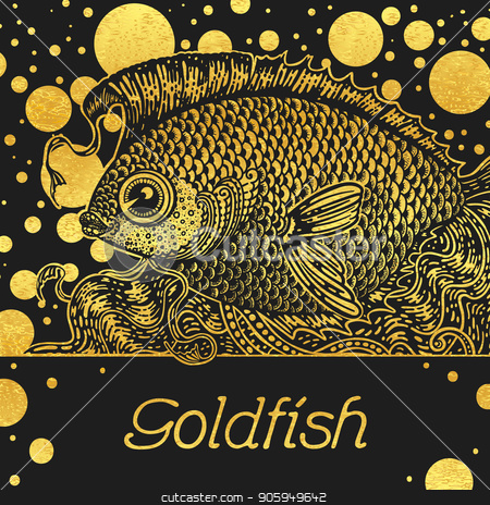 Banner with a gold fish stock vector clipart, Square banner with a gold fish on a black background and a place for text or a logo. by D0r0thy