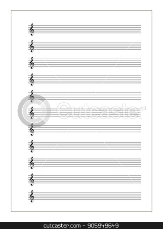 A4 music sheet with note stave with treble clef on white stock vector clipart, A4 music sheet with note stave with treble clef isolated on white by Evgeny