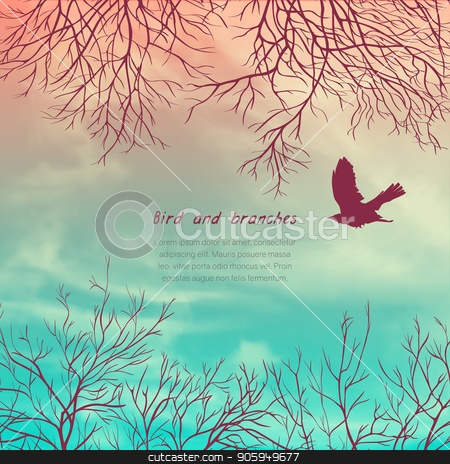Crows and tree banner stock vector clipart, Square banner with crows and tree branches. Template for postcard, poster or advertisement by D0r0thy