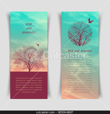 Crows and tree banner stock vector clipart, Narrow vertical banner with crows and tree branches. Template for postcard, poster or advertisement by D0r0thy