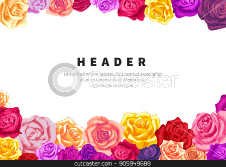 A5 size horizontal flyer template with lots of lovely colorful rosebuds on white stock vector clipart, A5 size horizontal flyer template with lots of lovely colorful rosebuds isolated on white by Evgeny