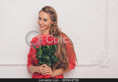 portrait of young beautiful blonde woman in red dress with red rose posing at camera on a white background stock photo, portrait of young beautiful blonde woman in red dress with red rose posing at camera on a white background by aaalll3110