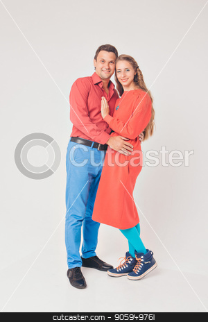 portrait of a man and a woman. Pair in red and blue stock photo, portrait of a man and a woman. Pair in red and blue by aaalll3110