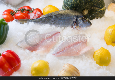 Fresh salmon fillet on ice. stock photo, Fresh salmon fillet on ice with fruit by Shane Maritch
