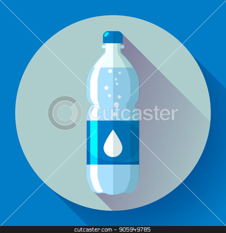 Bottle of water icon in flat style on blue background Vector illustration. stock vector clipart, Bottle of water icon in flat style on blue background Vector illustration by MarySan
