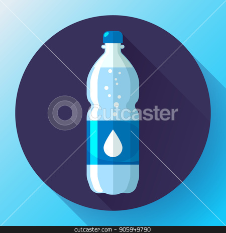 Bottle of water icon in flat style on blue background Vector illustration stock vector clipart, Bottle of water icon in flat style on blue background Vector illustration. by MarySan