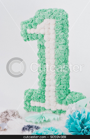 number one made up of green and white flowers on a white background. stock photo, number one made up of green and white flowers on a white background. by aaalll3110