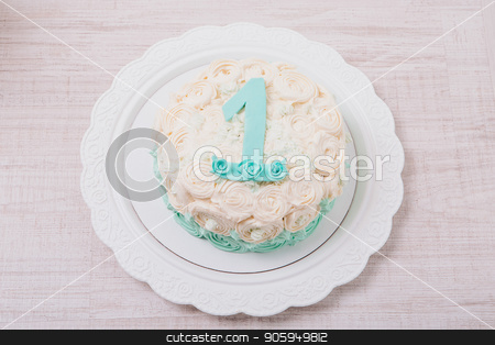 cake with roses and number one on a white background stock photo, cake with roses and number one on a white background by aaalll3110