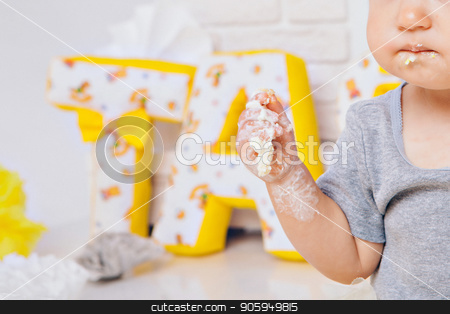 hand of baby food on white background. arm and cake stock photo, hand of baby food on white background. arm and cake by aaalll3110