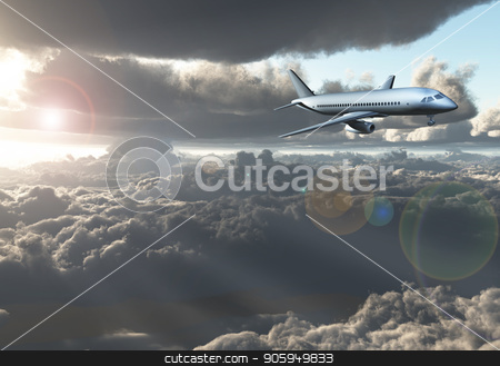 Jet Aircraft flying between clouds stock photo, Jet Aircraft flying between clouds. 3D rendering by Bruce Rolff