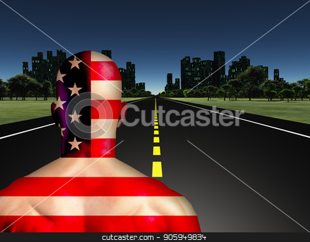 Man on a Road to city stock photo, Man in US national colors on a road to the night city. by Bruce Rolff