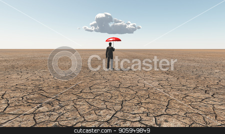 Waiting for the rain stock photo, Man in desert with red umbrella and single cloud by Bruce Rolff