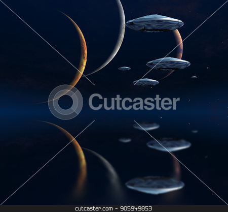 Three moons stock photo, Three moons and spaceships in blue deep space. by Bruce Rolff