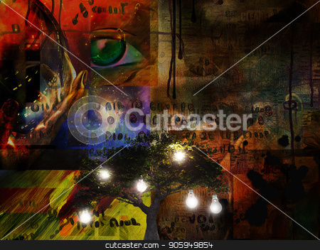 Tree of Life stock photo, Surrealism. Green tree with light bulbs. Hand holds glass sphere, green eye and ancient writings on background by Bruce Rolff