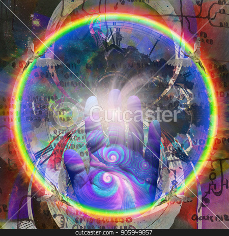 Hand of Creator stock photo, Colorful human palm. Naked winged men represents angels. Ancient script or blueprint on background by Bruce Rolff