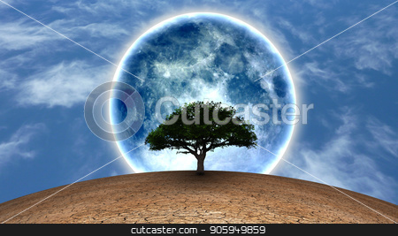 Life stock photo, Surrealism. Green tree in arid land. Full moon in blue sky. by Bruce Rolff