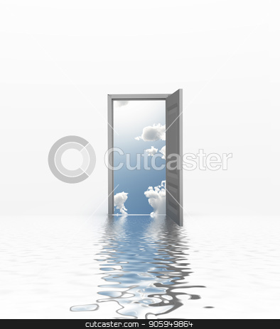 Enter stock photo, Surreal digital art. Doorway to the sky. by Bruce Rolff