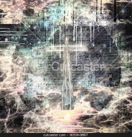 Faith stock photo, Abstract religious composition. Christian Cross, latin text at the background. 3D rendering by Bruce Rolff