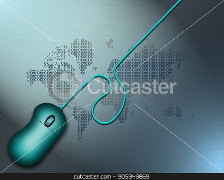Digital World stock photo, Computer mouse. World map background by Bruce Rolff