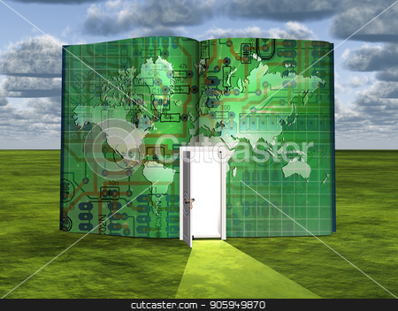 Tech world stock photo, Surrealism. Book with opened door and image of electronic board and world map. by Bruce Rolff