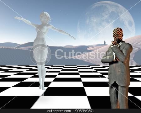 Graceful thoughts stock photo, Surrealism. Businessman stands on chessboard. Woman's statue made of white stone. Lonely man in a distance. 3D rendering by Bruce Rolff