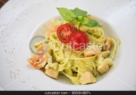 Pasta with shrimp stock photo, Pasta with shrimp sauce and cheese by olinchuk